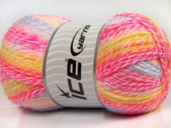 Lot of 2 x 200gr Skeins Ice Yarns PUZZLE BABY Yarn Pink Shades White Yellow Lilac