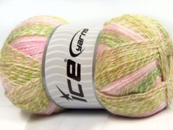 Lot of 2 x 200gr Skeins Ice Yarns PUZZLE BABY Yarn Light Pink White Green Beige Camel