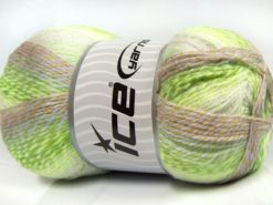 Lot of 2 x 200gr Skeins Ice Yarns PUZZLE BABY Yarn Green Shades Camel White Lilac