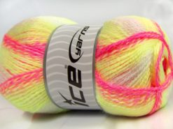 Lot of 2 x 200gr Skeins Ice Yarns PUZZLE BABY Yarn Pink Shades Green Shades White