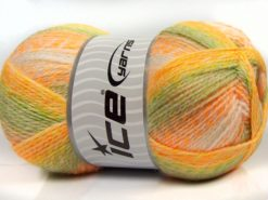 Lot of 2 x 200gr Skeins Ice Yarns PUZZLE BABY Yarn Orange Yellow Camel White Green