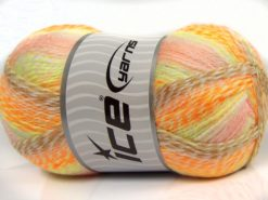 Lot of 2 x 200gr Skeins Ice Yarns PUZZLE BABY Yarn Orange Pink White Green Camel