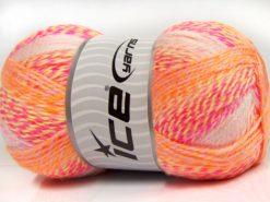 Lot of 2 x 200gr Skeins Ice Yarns PUZZLE BABY Yarn Orange Green Pink Shades