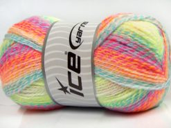 Lot of 2 x 200gr Skeins Ice Yarns PUZZLE BABY Yarn Turquoise Orange Green White