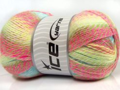 Lot of 2 x 200gr Skeins Ice Yarns PUZZLE BABY Yarn Pink Shades White Green Turquoise Camel