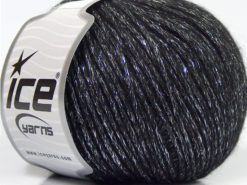Lot of 8 Skeins Ice Yarns NIGHT STAR (17% Wool 7% Viscose) Yarn Black Silver
