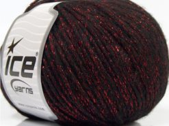 Lot of 8 Skeins Ice Yarns NIGHT STAR (17% Wool 7% Viscose) Yarn Black Red
