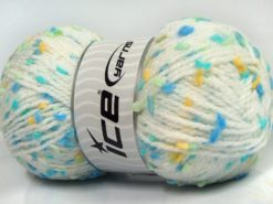 Lot of 3 x 100gr Skeins Ice Yarns SNOW FLAKE Yarn White Turquoise Blue Mint Green