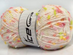 Lot of 3 x 100gr Skeins Ice Yarns SNOW FLAKE Yarn White Pink Salmon Yellow Green
