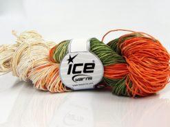 Lot of 2 x 200gr Skeins Ice Yarns HAND DYED BATIK (50% Cotton) Yarn Orange Cream Green