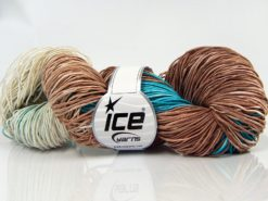 Lot of 2 x 200gr Skeins Ice Yarns HAND DYED BATIK Yarn Brown Cream Turquoise