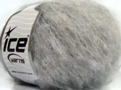 Lot of 8 Skeins Ice Yarns KAN MOHAIR (20% Mohair 25% Wool) Yarn Light Grey Melange