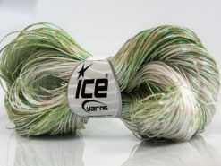 Lot of 3 x 100gr Skeins Ice Yarns SPRAY PAINT (40% Cotton) Yarn Green Shades Cream