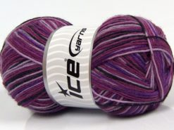 Lot of 4 x 100gr Skeins Ice Yarns MAGIC SOCK (75% Superwash Wool) Yarn Purple Shades Black Pink