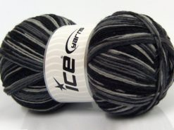 Lot of 2 x 150gr Skeins Ice Yarns GLAMOR SOCK (75% Superwash Wool) Yarn Black Grey Shades