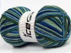 Lot of 2 x 150gr Skeins Ice Yarns GLAMOR SOCK (75% Superwash Wool) Yarn Green Shades Blue Shades