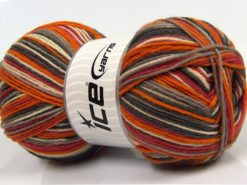 Lot of 2 x 150gr Skeins Ice Yarns GLAMOR SOCK (75% Superwash Wool) Yarn Grey Shades Orange Red Cream