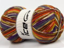 Lot of 2 x 150gr Skeins Ice Yarns GLAMOR SOCK (75% Superwash Wool) Yarn Lilac Grey Olive Green Orange Brown
