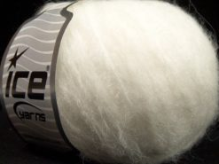 Lot of 8 Skeins Ice Yarns FLEECY WOOL (22% Wool) Hand Knitting Yarn White