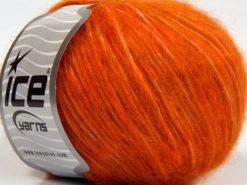 Lot of 8 Skeins Ice Yarns FLEECY WOOL (22% Wool) Hand Knitting Yarn Dark Orange