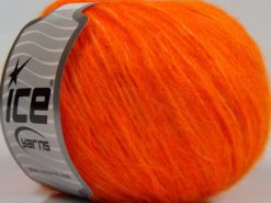 Lot of 8 Skeins Ice Yarns FLEECY WOOL (22% Wool) Hand Knitting Yarn Orange