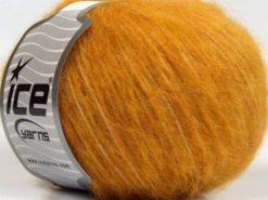 Lot of 8 Skeins Ice Yarns FLEECY WOOL (22% Wool) Hand Knitting Yarn Gold