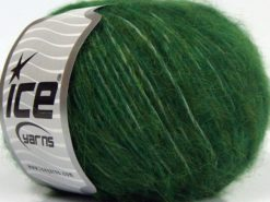 Lot of 8 Skeins Ice Yarns FLEECY WOOL (22% Wool) Hand Knitting Yarn Dark Green