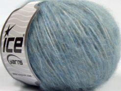 Lot of 8 Skeins Ice Yarns FLEECY WOOL (22% Wool) Yarn Light Blue Light Grey