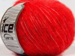 Lot of 8 Skeins Ice Yarns FLEECY WOOL (22% Wool) Hand Knitting Yarn Red