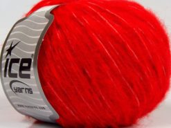 Lot of 8 Skeins Ice Yarns FLEECY WOOL (22% Wool) Hand Knitting Yarn Bright Red