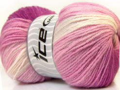 Lot of 4 x 100gr Skeins Ice Yarns MAGIC LIGHT Yarn Fuchsia Pink White