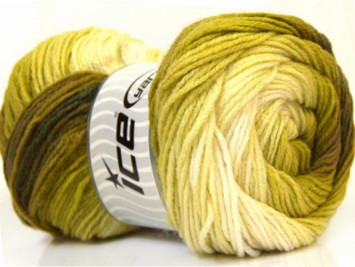 Lot of 4 x 100gr Skeins Ice Yarns MAGIC LIGHT Yarn Green Shades White