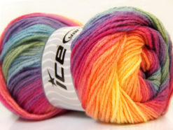 Lot of 4 x 100gr Skeins Ice Yarns MAGIC LIGHT Yarn Purple Pink Blue Yellow Green