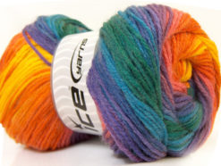 Lot of 4 x 100gr Skeins Ice Yarns MAGIC LIGHT Yarn Green Blue Purple Orange Yellow