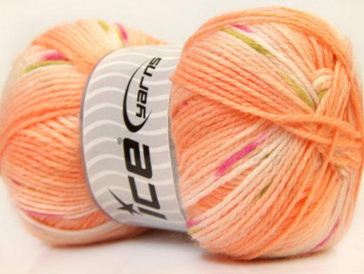 Lot of 4 x 100gr Skeins Ice Yarns BABY DESIGN Yarn Light Orange Pink Green