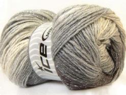 Lot of 4 x 100gr Skeins Ice Yarns MAGIC GLITZ Yarn Black Grey White Silver