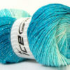 Lot of 4 x 100gr Skeins Ice Yarns MAGIC GLITZ Yarn Turquoise Light Blue White Silver