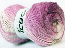 Lot of 4 x 100gr Skeins Ice Yarns MAGIC GLITZ Hand Knitting Yarn Pink Shades