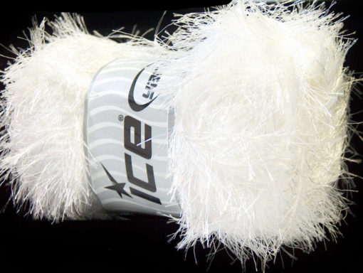 Lot of 4 x 100gr Skeins Ice Yarns EYELASH 100GR Hand Knitting Yarn White