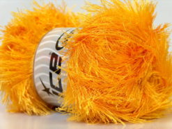 Lot of 4 x 100gr Skeins Ice Yarns EYELASH 100GR Hand Knitting Yarn Yellow