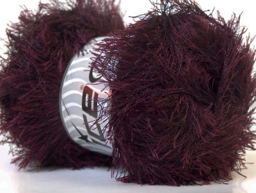 Lot of 4 x 100gr Skeins Ice Yarns EYELASH 100GR Hand Knitting Yarn Dark Maroon