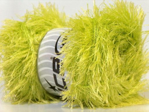 Lot of 4 x 100gr Skeins Ice Yarns EYELASH 100GR Hand Knitting Yarn Light Green