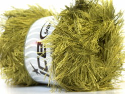 Lot of 4 x 100gr Skeins Ice Yarns EYELASH 100GR Hand Knitting Yarn Olive Green