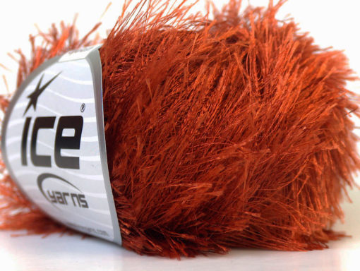 Lot of 8 Skeins Ice Yarns EYELASH Hand Knitting Yarn Copper