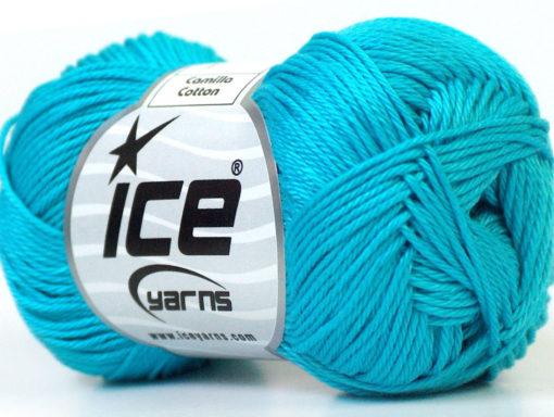 Lot of 6 Skeins Ice Yarns CAMILLA COTTON (100% Mercerized Cotton) Yarn Turquoise