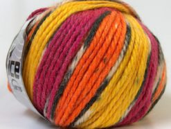 Lot of 4 x 100gr Skeins Ice Yarns ALPACA BULKY MAGIC (25% Alpaca 35% Wool) Yarn Orange Yellow Fuchsia