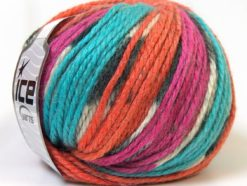 Lot of 4 x 100gr Skeins Ice Yarns ALPACA BULKY MAGIC (25% Alpaca 35% Wool) Yarn Turquoise Orange Fuchsia