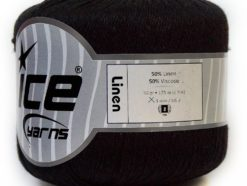 Lot of 6 Skeins Ice Yarns LINEN (50% Viscose) Hand Knitting Yarn Black