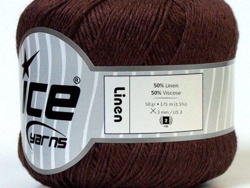 Lot of 6 Skeins Ice Yarns LINEN (50% Viscose) Hand Knitting Yarn Dark Brown