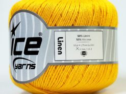 Lot of 6 Skeins Ice Yarns LINEN (50% Viscose) Hand Knitting Yarn Yellow